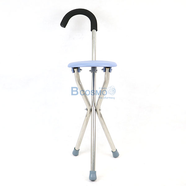 EW0017-ไม้เท้าเก้าอี้กลม-สแตนเลส-5 ไม้เท้าช่วยพยุงเดินพร้อมเก้าอี้นั่งทรงกลม