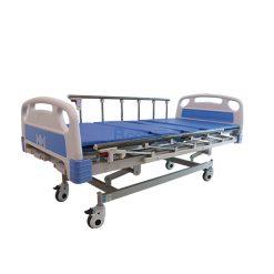 เตียงมือหมุน 3 ไก ราวสไลค์ พร้อมเบาะนอน 4 ตอน สีฟ้า