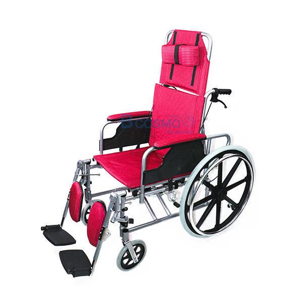 WC0301-R-รถเข็นอัลลอยด์ปรับนอนเบาะผ้าแดง-Y955-WHEELCHAIR