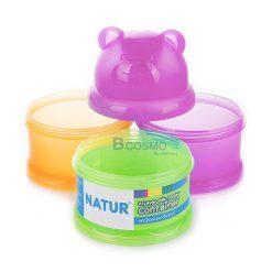 กระปุกแบ่งนม 3 ชั้น หัวหมี NATUR ชมพู