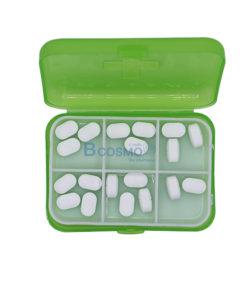 กล่องจัดชุดยา 6 ช่อง สีเขียว