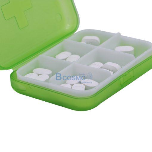 PA1709-GR-กล่องจัดชุดยา-6-ช่อง-สีเขียว