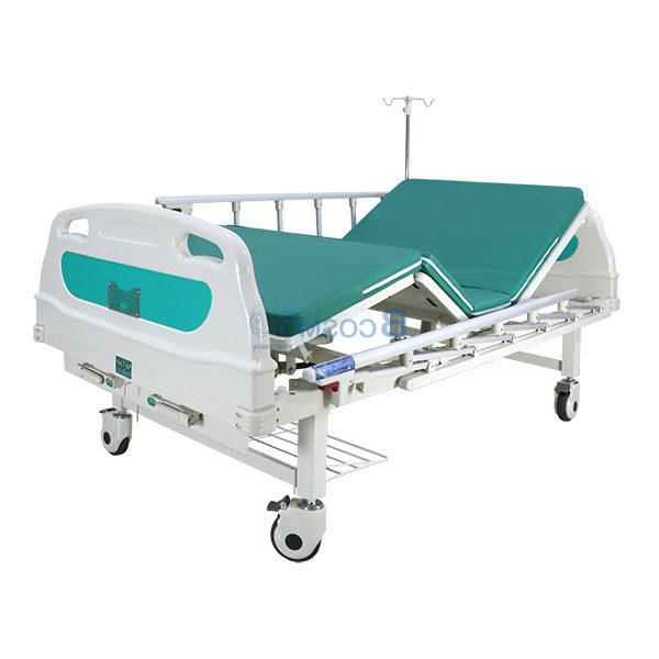 เตียงผู้ป่วย มือหมุน 2 ไก หัวท้าย ABS ราวสไลด์ พร้อมเบาะนอน 4 ตอน