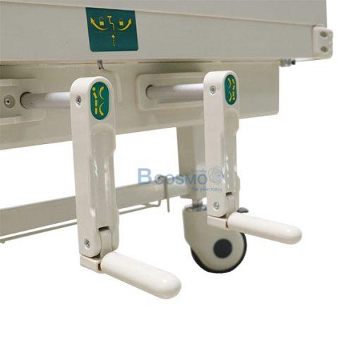 PB0006-GR-เตียงผู้ป่วย มือหมุน 2 ไก หัวท้าย ABS ราวสไลค์สูง พร้อมเบาะนอน 4 ตอน
