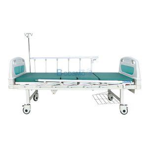 เตียงผู้ป่วย มือหมุน 2 ไก หัวท้าย ABS ราวสไลด์สูง พร้อมเบาะนอน 4 ตอน