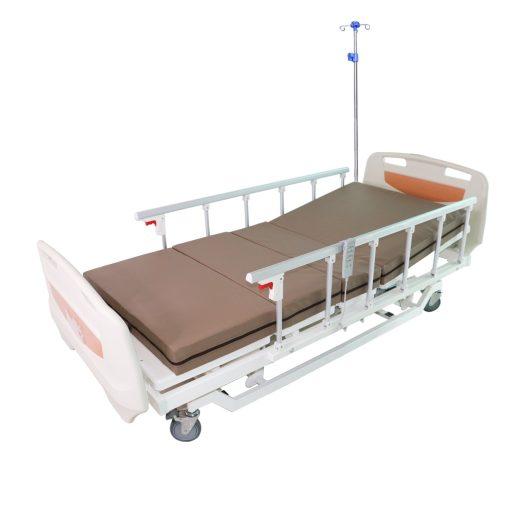 เตียงผู้ป่วยไฟฟ้า XH-JJ-D UQ2018SL 3 ไก ราวสไลด์ UPS เสาน้ำเกลือ พร้อมเบาะนอน 4 ตอน สีครีม