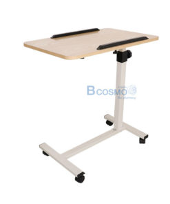 โต๊ะคร่อมเตียง พับได้มีกันตก สีไม้