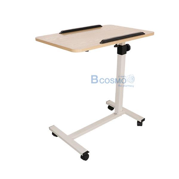 EB0009-โต๊ะคร่อมเตียง-พับได้มีกันตก-สีไม้_01 โต๊ะคร่อมเตียง พับได้มีกันตก สีไม้