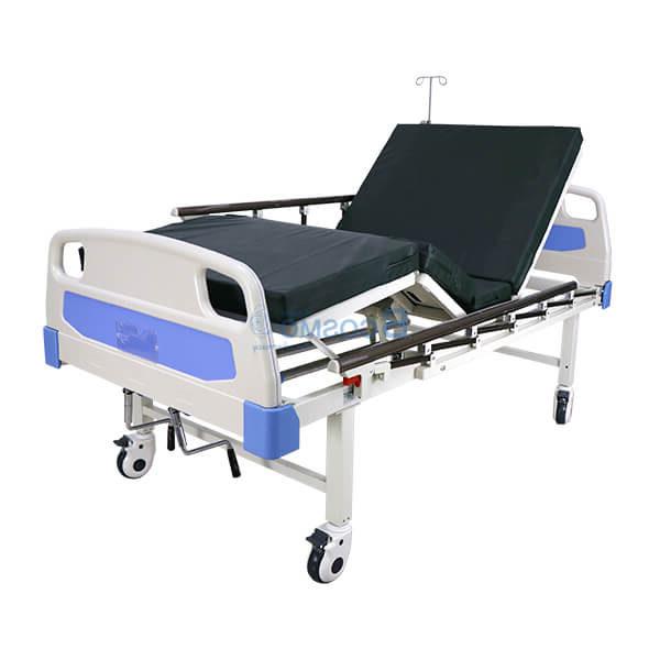 เตียงผู้ป่วย PS08 มือหมุน 2 ไก หัวท้าย ABS ราวสไลด์ พร้อมเบาะนอน 4 ตอน