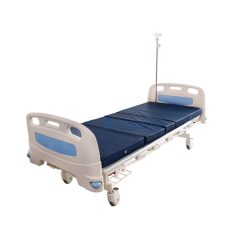 เตียงมือหมุน 2 ไก ราวสไลด์ พรัอมกันชน สีฟ้า