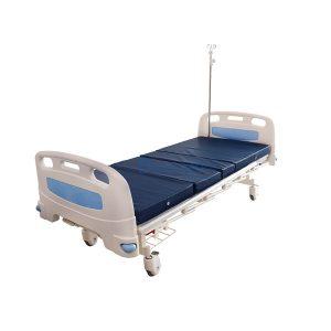 เตียงผู้ป่วย มือหมุน 2 ไก ราวสไลด์สูง พรัอมกันชน สีฟ้า