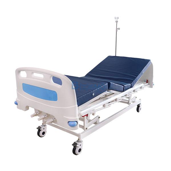 เตียงผู้ป่วย มือหมุน 3 ไก ราวสไลด์สูง พรัอมกันชน สีฟ้า