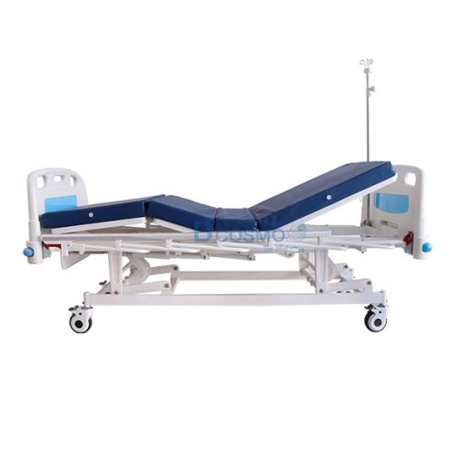 เตียงผู้ป่วยมือหมุน 3 ไก ราวสไลด์สูง พรัอมกันชน สีฟ้า