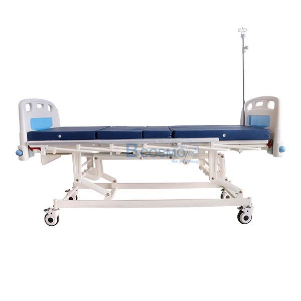 เตียงผู้ป่วย มือหมุน 3 ไก ราวสไลด์สูง พร้อมกันชน สีฟ้า