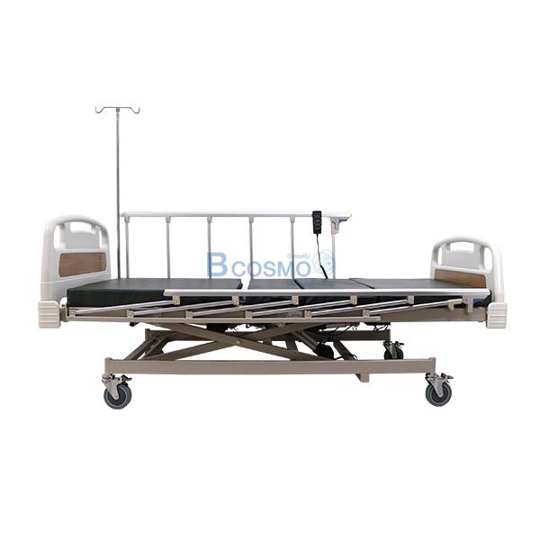 PB0106-CR-2-ลายน้ำ เตียงผู้ป่วย 3 ไก ไฟฟ้า ราวสไลด์สูง หัวท้าย ABS