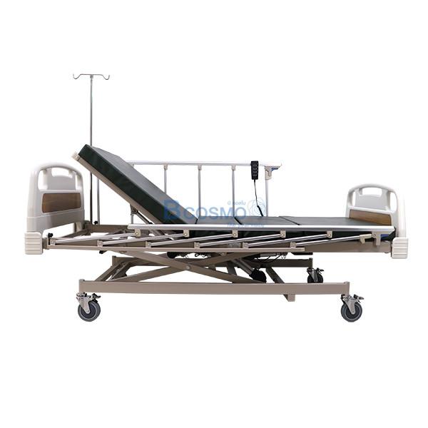 PB0106-CR-3-ลายน้ำ เตียงผู้ป่วย 3 ไก ไฟฟ้า ราวสไลด์สูง หัวท้าย ABS