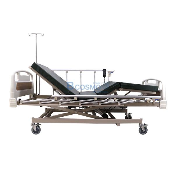 PB0106-CR-4-ลายน้ำ เตียงผู้ป่วย 3 ไก ไฟฟ้า ราวสไลด์สูง หัวท้าย ABS