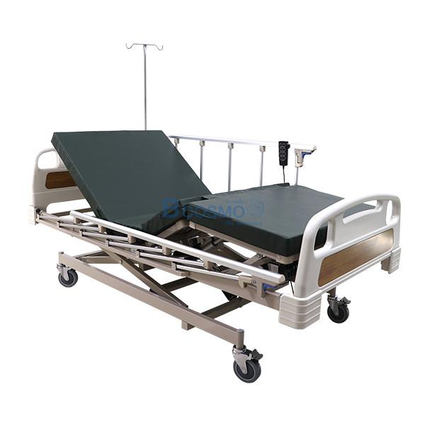 PB0106-CR-5-ลายน้ำ เตียงผู้ป่วย 3 ไก ไฟฟ้า ราวสไลด์สูง หัวท้าย ABS