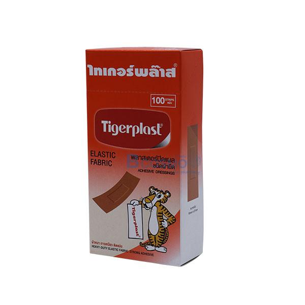 [1 กล่อง 100 แผ่น] พลาสเตอร์ปิดแผล ไทเกอร์พล๊าส ชนิดผ้ายืด 19×72 mm.