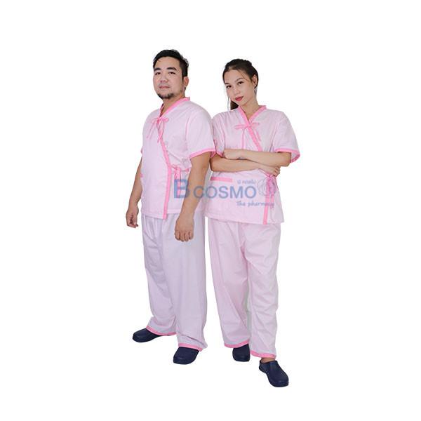 MT0502-P-ชุดผู้ป่วยสีชมพู-กางเกงเอวหูรูด_01 ชุดผู้ป่วยสีชมพู กางเกงเอวหูรูด SIZE S,M,L,XL