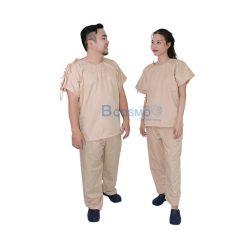 ชุดผู้ป่วยสีครีม เปิดบ่า-เปิดข้าง กางเกงเอวหูรูด SIZE S,M,L