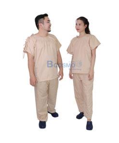 ชุดผู้ป่วยสีครีม เปิดบ่า-เปิดข้าง กางเกงเอวหูรูด SIZE S,L