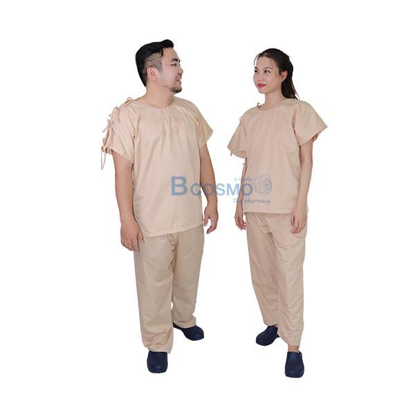 MT0503-CR-ชุดผู้ป่วยสีครีม-เปิดบ่า-เปิดข้าง-กางเกงเอวหูรูด_01 ชุดผู้ป่วยสีครีม เปิดบ่า-เปิดข้าง กางเกงเอวหูรูด SIZE S,L