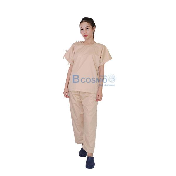 MT0503-CR-ชุดผู้ป่วยสีครีม-เปิดบ่า-เปิดข้าง-กางเกงเอวหูรูด_02 ชุดผู้ป่วยสีครีม เปิดบ่า-เปิดข้าง กางเกงเอวหูรูด SIZE S,L