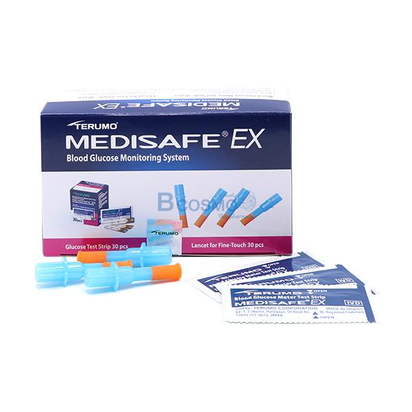 -MEDISAFE-EX-SM0010-3 แผ่นตรวจน้ำตาลในเลือด+เข็มเจาะ MEDISAFE EX