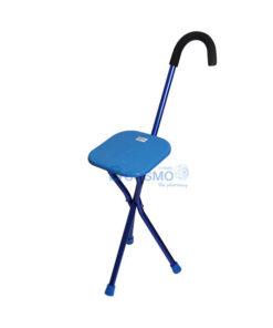 ไม้เท้าอลูมิเนียม 3 ขา พร้อมที่นั่งเหลี่ยม สีฟ้า