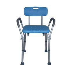 เก้าอี้นั่งอาบน้ำ มีพนักพิง ที่พักแขน สีฟ้า