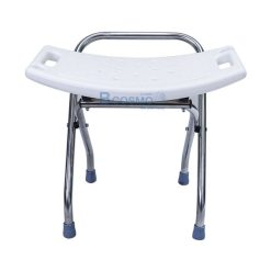 เก้าอี้นั่งอาบน้ำแบบพับได้สแตนเลส สีขาว