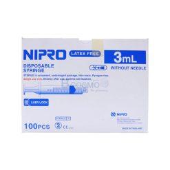 [1 ลัง 10 กล่อง] ไซริงค์หัวล็อก LL NIPRO 3 ml. 100 ชิ้น/กล่อง
