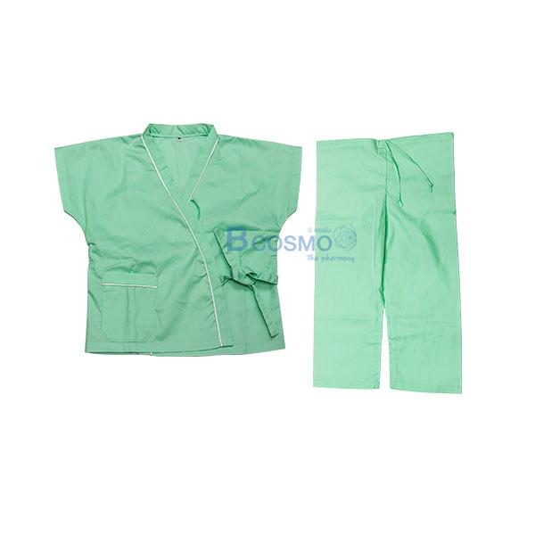 ชุดผู้ป่วยเด็กสีเขียวอ่อน กางเกงเอวหูรูด SIZE M