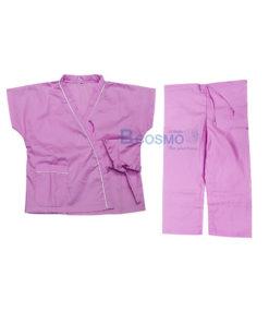 ชุดผู้ป่วยเด็กสีชมพู กางเกงเอวหูรูด SIZE M