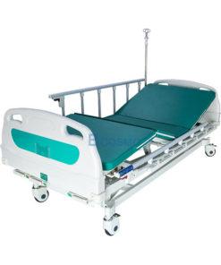 เตียงผู้ป่วย มือหมุน 3 ไกร์ หัวท้าย ABS ราวสไลด์สูง พร้อมเบาะนอน 4 ตอน
