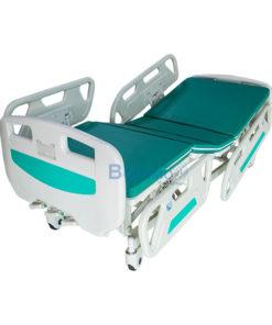เตียงผู้ป่วย มือหมุน 3 ไก หัวท้าย ABS ราวปีกนก พร้อมเบาะนอน 4 ตอน
