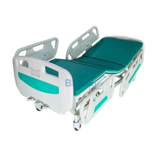 เตียงผู้ป่วย YYY A236P มือหมุน 3 ไก หัวท้าย ABS ราวปีกนก พร้อมเบาะนอน 4 ตอน