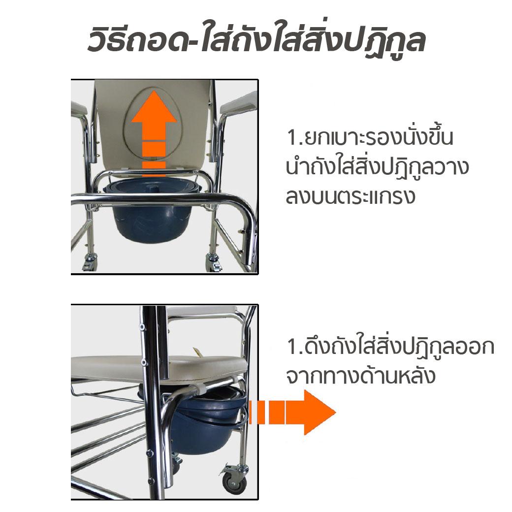 เก้าอี้นั่งถ่ายเบาะนิ่ม Y614L ET0101 2