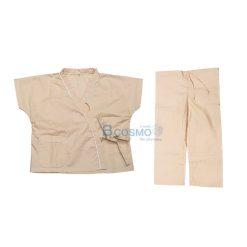 ชุดผู้ป่วยเด็กสีครีม กางเกงเอวหูรูด SIZE M