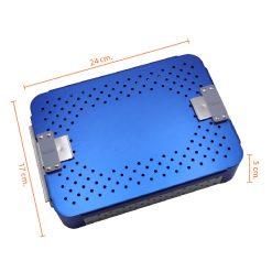 กล่องใส่เครื่องมือ นึ่งฆ่าเชื้อ อลูมิเนียม แผ่นซิลิโคน 1 ชิ้น 240x175x55 mm.  สีน้ำเงิน