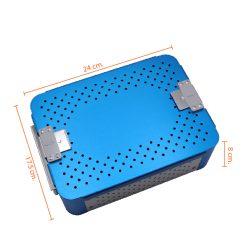 กล่องใส่เครื่องมือ นึ่งฆ่าเชื้อ อลูมิเนียม แผ่นซิลิโคน 2 ชิ้น 240x175x80 mm. สีฟ้า