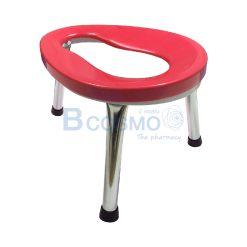 เก้าอี้นั่งถ่าย 3 ขาพับไม่ได้ ขนาดเล็ก สีแดง 30 ซม.