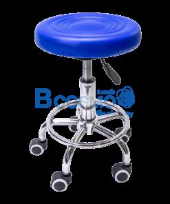 เก้าอี้กลมเบาะนิ่มแบบโช๊ค มีล้อ 201 สีน้ำเงิน