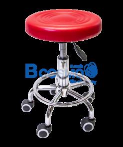 เก้าอี้กลมเบาะนิ่มแบบโช๊ค มีล้อ 201 สีแดง