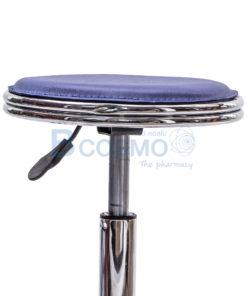 เก้าอี้กลมขอบสแตนเลสโช๊ค เบาะนั่งสีน้ำเงิน มีล้อ 201