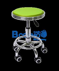 เก้าอี้กลมขอบสแตนเลสโช๊ค เบาะนั่งสีเขียว มีล้อ 201