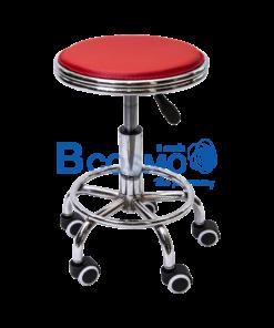 เก้าอี้กลมขอบสแตนเลสโช๊ค เบาะนั่งสีแดง มีล้อ 201
