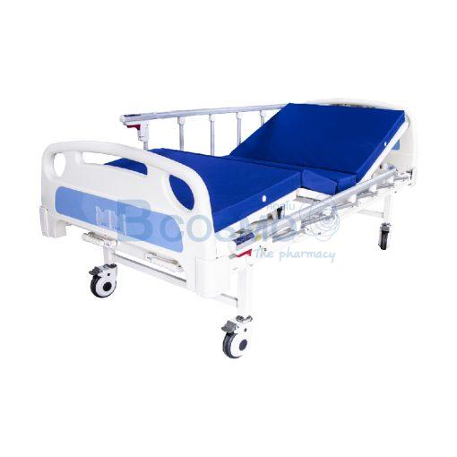 เตียงผู้ป่วย มือหมุน 2 ไก ราวสไลด์