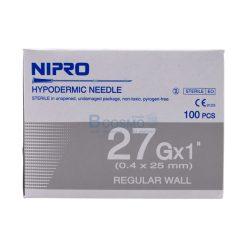 เข็มฉีดยา ยี่ห้อ นิโปร เบอร์ 27 X 1″ [1 กล่อง 100 ชิ้น]